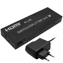 Full HD 1080P 3D 2x4 Matrix HDMI Video Switch Splitter Amplifier 1.4a 4K With Remote For DVD PS3 TV Box HDTV