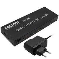Full HD 1080P 3D 2x4 Matrix HDMI Video Switch Splitter Amplifier 1 4a 4K With Remote
