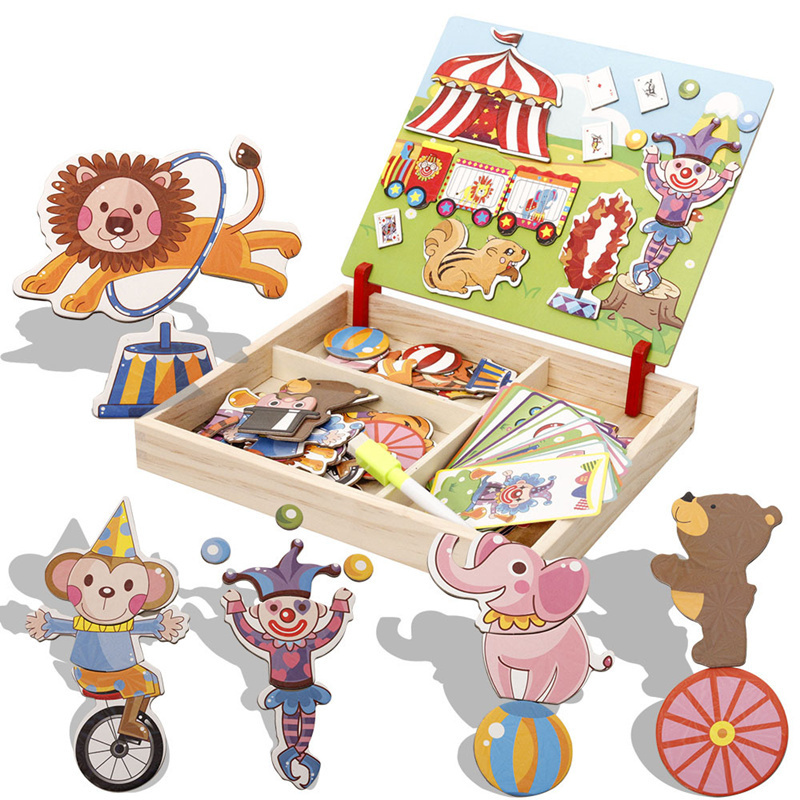 Wooden Magnetic Puzzle Toys Baby Circus Jigsaw Changing Clothes Traffic Building Fight Spell Board Educational kid Game Toy gift children s early childhood educational toys the bear change clothes play toys creative wooden jigsaw puzzle girls toys