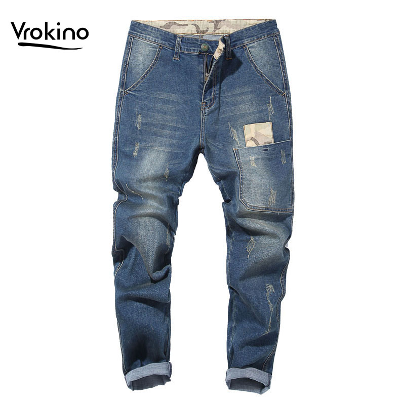 VROKINO 2019 Summer New Style Large Size 28-48 Men's Stretch Loose Jeans Fashion Personality Men's Pants Clothing Brand