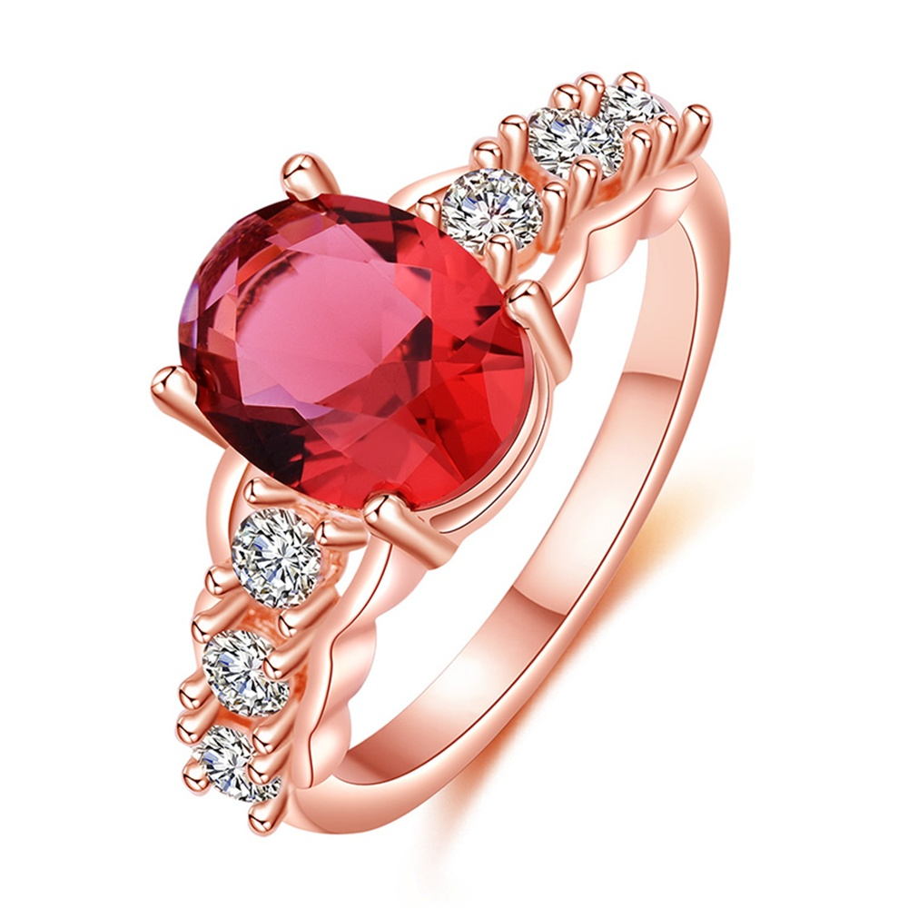 Luxury Rings For Women Six White Shining Zircon And Red Oval Crystal Ring Elegant Popula ...