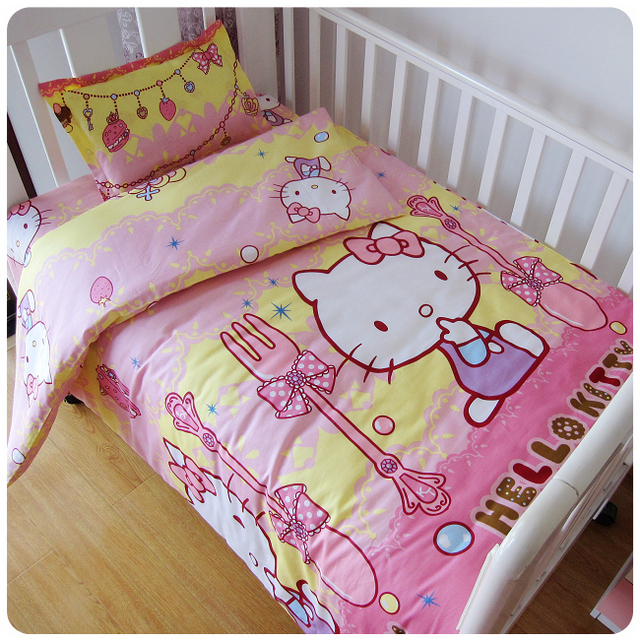 Exceptional 3Pcs/Sets Baby Bedding Sets Cotton Custom Made AB Face Printed Cartoon Cot  Baby Bed