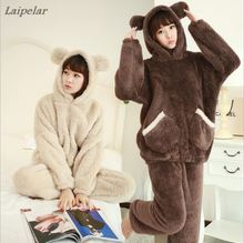 Autumn winter long sleeve plush black bear hooded pajamas lambskin female thickened home service suits Laipelar