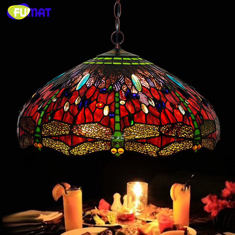 FUMAT A series Lamp European Lamp Creative Art Red Dragonfly Glass Pendant Lamp Home Decor Light Fixtures Hotel Studio Lamp fumat stained glass lamp european style antique chandelier complex classic living room hotel glass art lamp curtains beads lamp