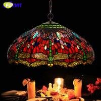 FUMAT A series Lamp European Lamp Creative Art Red Dragonfly Glass Pendant Lamp Home Decor Light Fixtures Hotel Studio Lamp