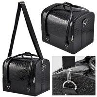 Beauty Vanity Makeup Cosmetic Box Case Nail Polish Storage Make Up Box Croc Black