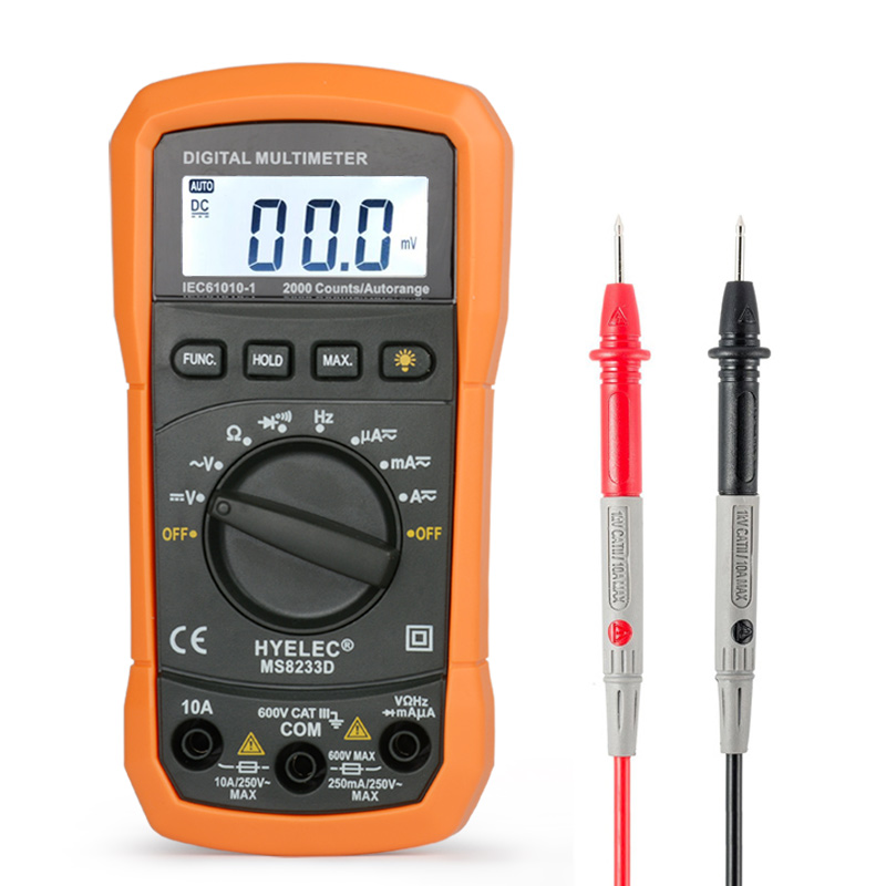 HYelec 8233D digital multimeter lcd capacitor tester probe multimetro profissional capacitance meter multimeters multitester cnim hot m6013 autorange digital capacitor capacitance circuit tester meter multimeter yellow