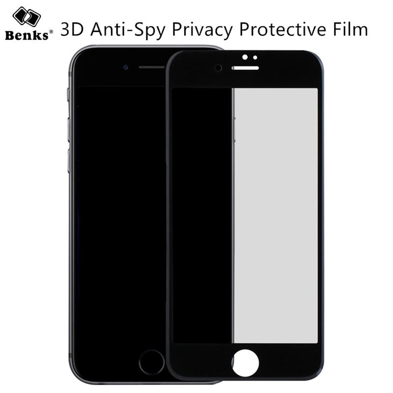 imágenes para Para el iphone 7 Más Protector de Pantalla Anti-Espía Privacidad Templado Benks 3D Curva Completa Cubierta de la Película Protectora para iPhone7