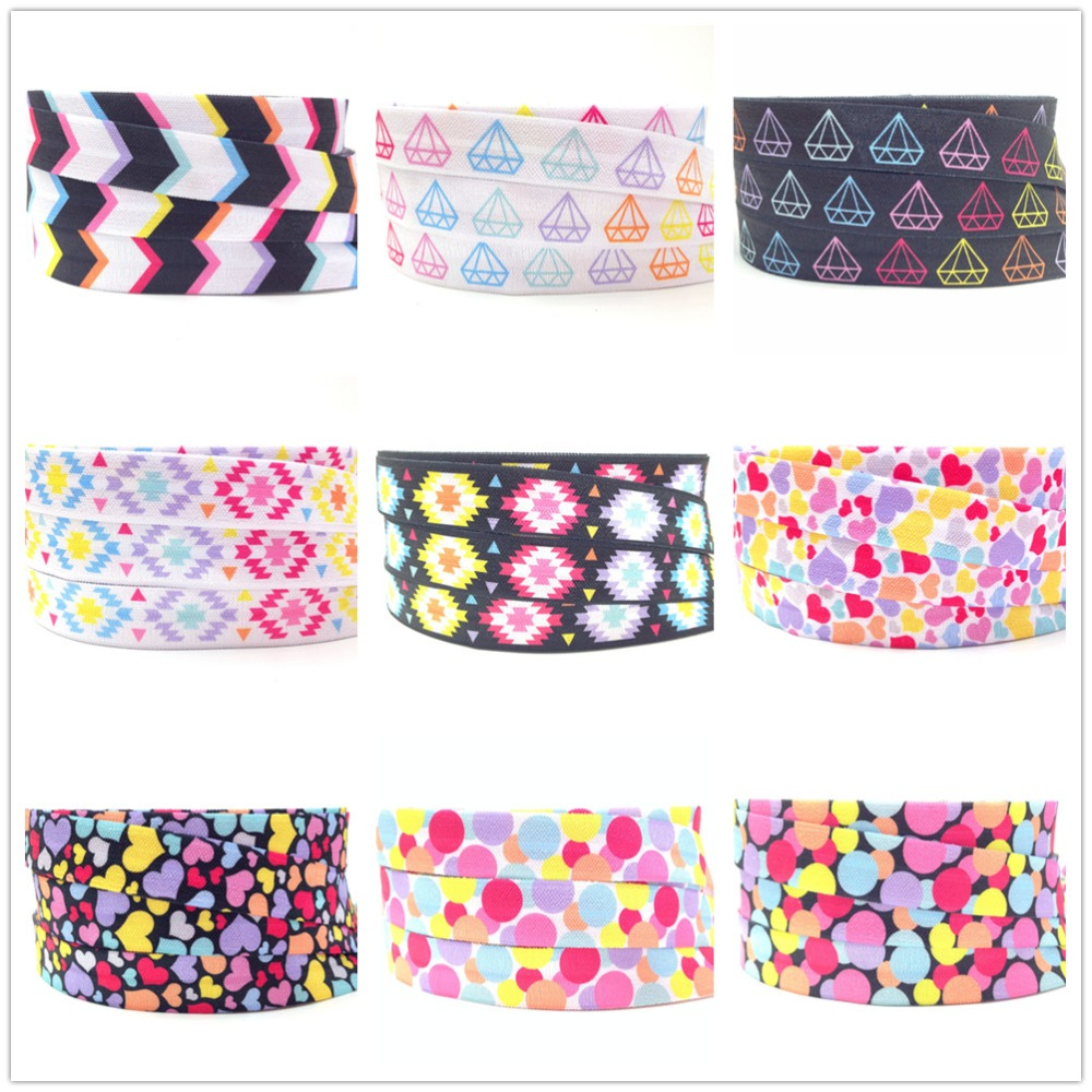 5Yards 16mm Hearts Geometric Printed Polka Dots Fold Over Elastic Aztec FOE Handmade Accessories DIY Hair Tie Party Decor Ribbon