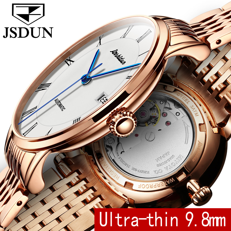 Automatic Watches JSDUN Luxury Men Tourbillon Mechanical Watch Gold Clock Stainless Steel saat Casual Wristwatch relojes hombre 2017 new jsdun luxury brand automatic mechanical watch ladies rose gold watches stainless steel ladies tourbillon wrist watch