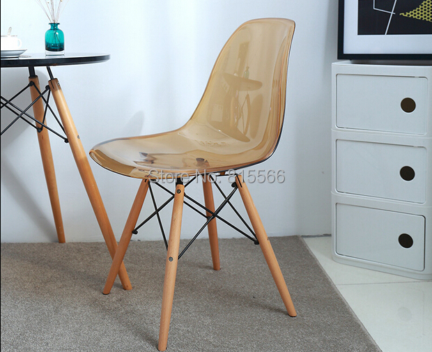 best quality modern iconic clear purple green amber plastic chair free shipping by china post air parcel ch177 natural side chair walnut ash