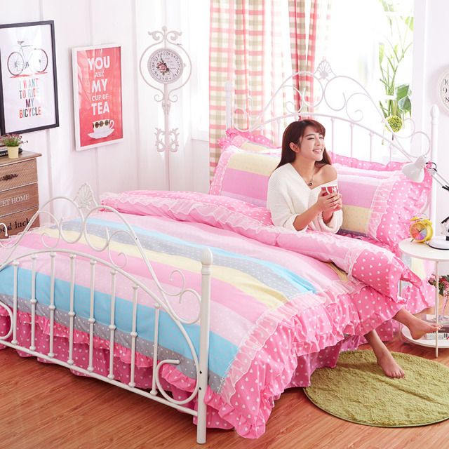Pink Lace Luxury Korean Bedding Sets Twin Full Queen King Size Wedding  Royal Stripe Bed Set