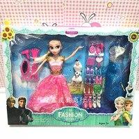 30 cm Brinquedos Da Disney No Gelo e Snow Queen Elsa Anna Congelado Princesa Boneca com Acessórios para Crianças Presente de Natal Aniversário