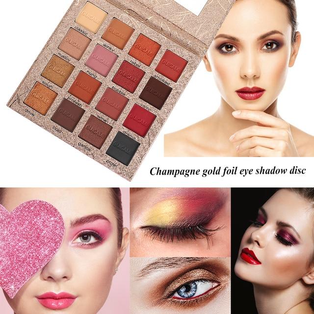 16 colores, oro champán de paleta de sombra de ojos pigmento nacarado mate brillo paleta de sombra de ojos ojo maquillaje cosmético TSLM2