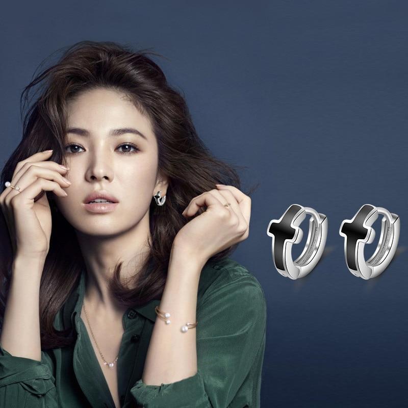 Everoyal 100 925 Sterling Silver Earrings Male Jewelry Fashion Black Cross Men Hoop Earrings For Women Girls Accessories Female in Hoop Earrings from Jewelry Accessories