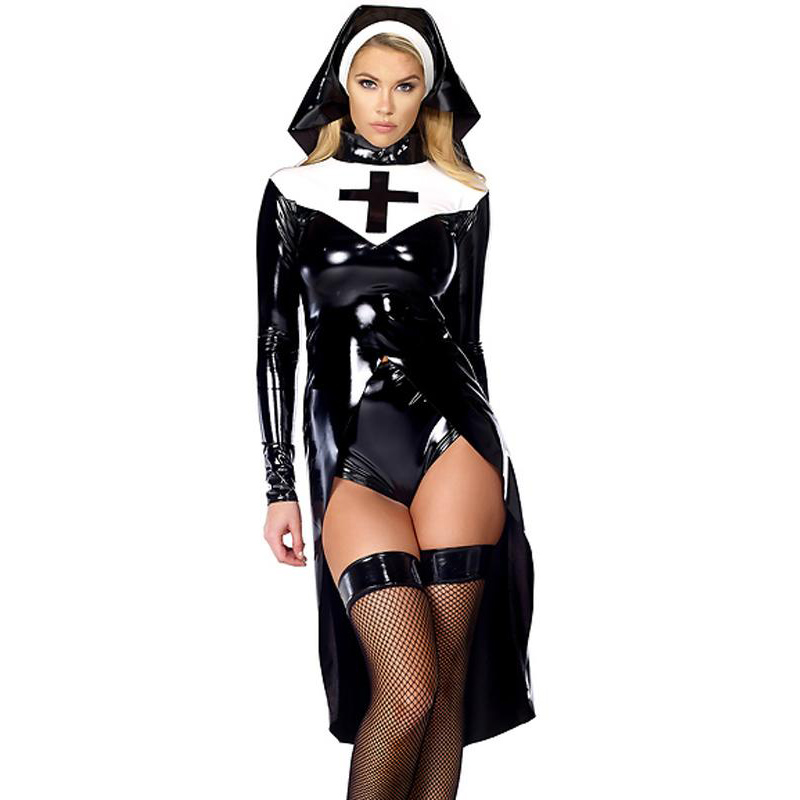 2016 New Style Nun Kostyme Sexy Women's Saintlike Seductress Halloween Kostyme med Vinyl Top Panty og Headpiece