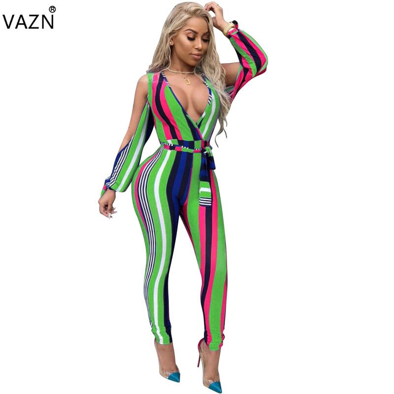 VAZN 2018 summer 3-colors deep v-neck jumpsuits women off the shoulder jumpsuits ladies hollow out full length jumpsuits CM201