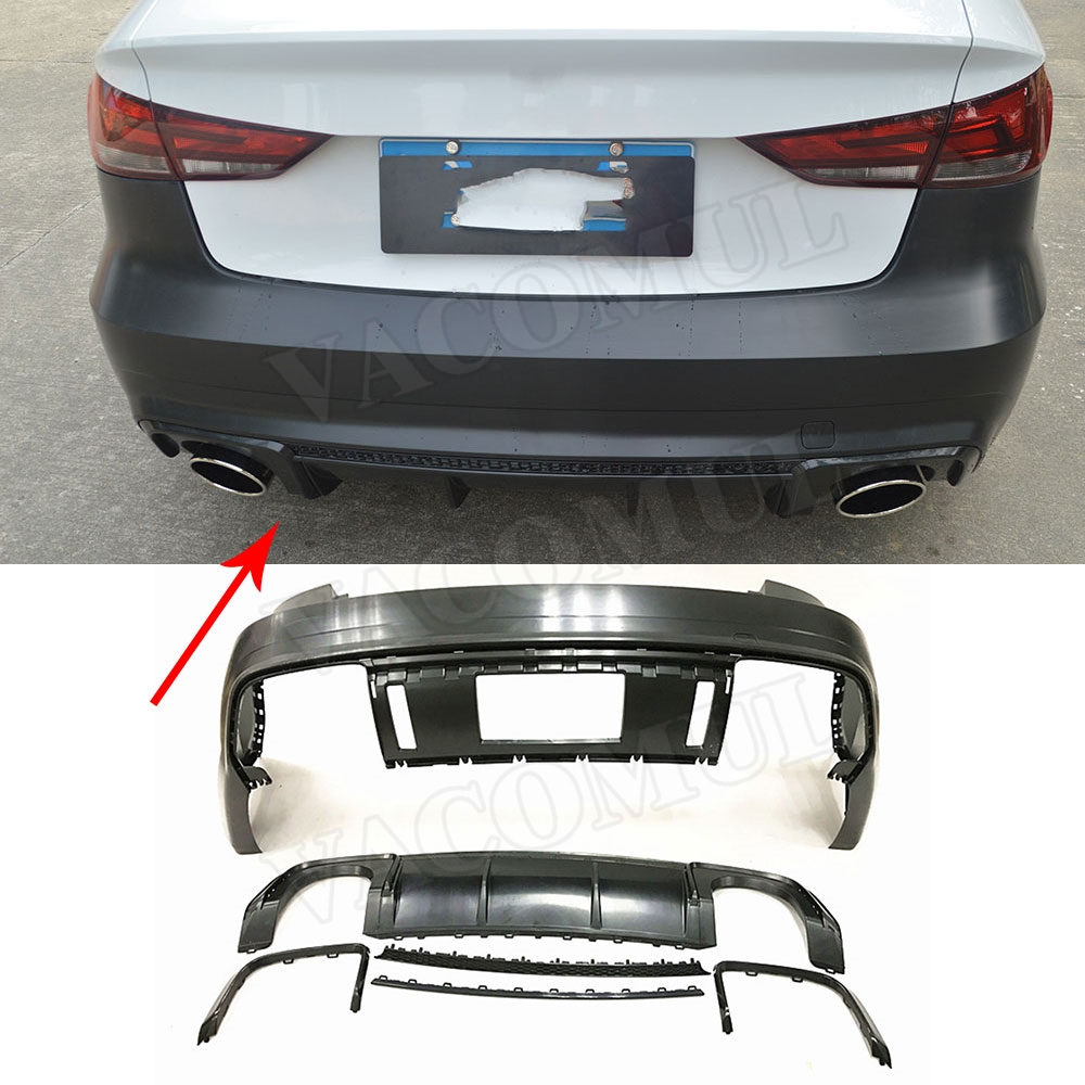 PP Unpainted Car Body KitS Auto <font><b>rear</b></font> <font><b>diffuser</b></font> side skirts racing grills for <font><b>Audi</b></font> <font><b>A3</b></font> S3 2014 2015 <font><b>2016</b></font> 2017 2018 image