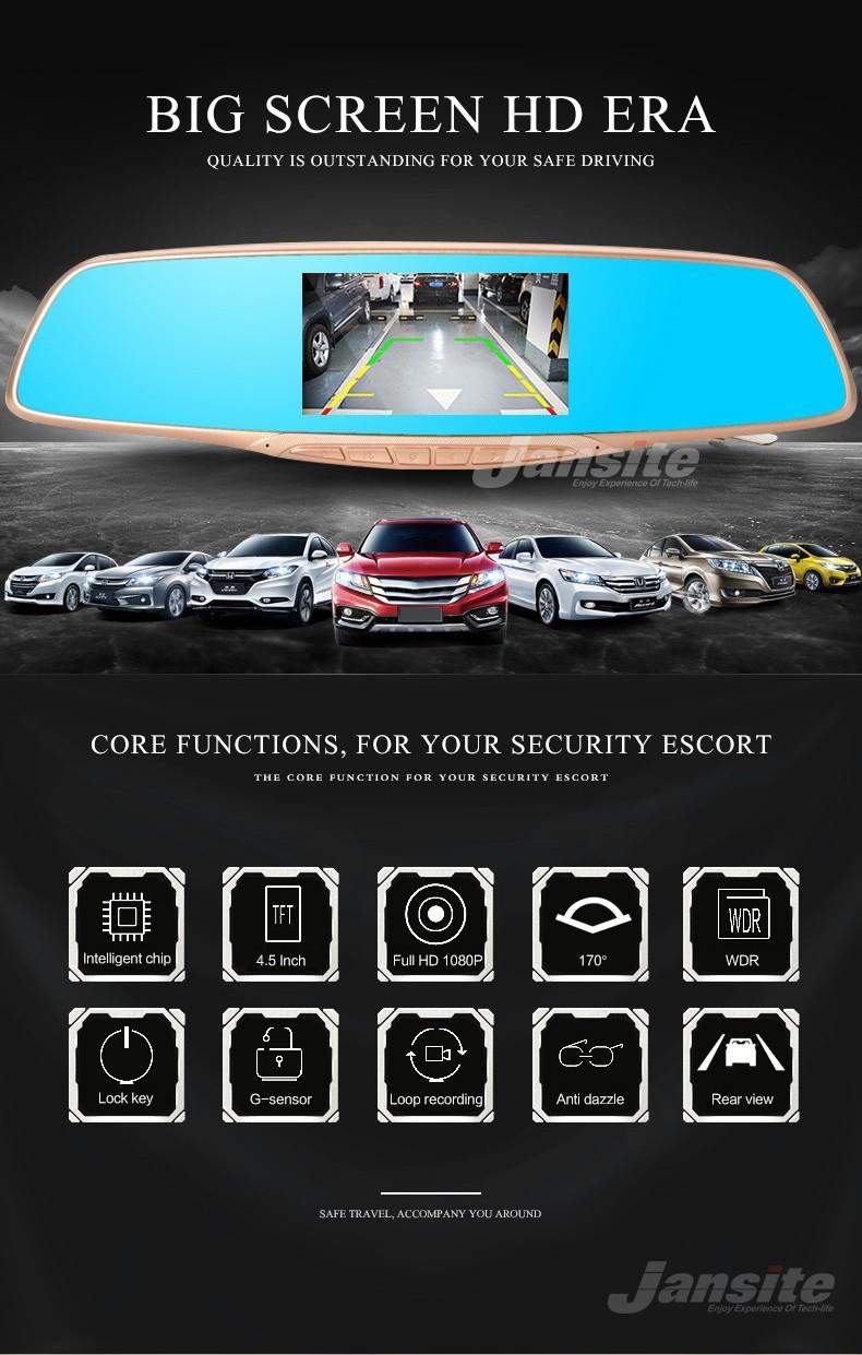 Jansite Car DVR Camera Review Mirror FHD 1080P Video Recorder Night Vision Dash Cam Parking Monitor Auto Registrar Dual Lens DVR 2