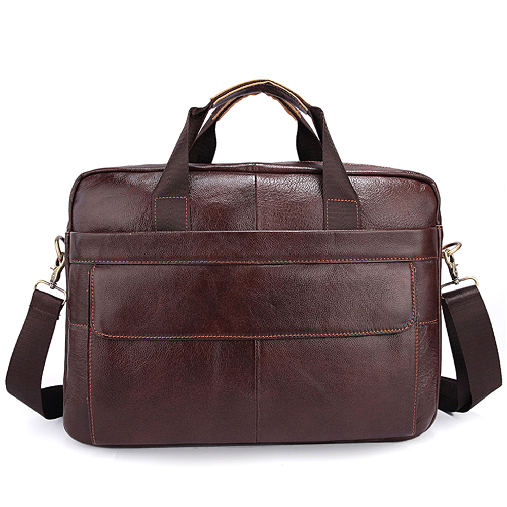 First Layer Cow Leather 14 inch Laptop Business Briefcase Men Casual Handbag Shoulder Messenger Bag for Travel School Work top layer genuine cow leather cowhide shoulder leisure men s bag business messenger portable briefcase laptop casual purse