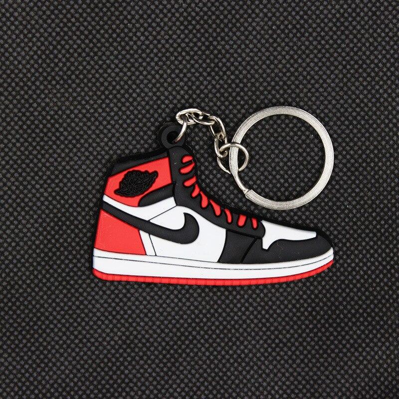 цена на Mini AJ1 key pendant classic color Jordan 1 generation sneakers key chain custom aj keychain basketball shoes key Ring For Men