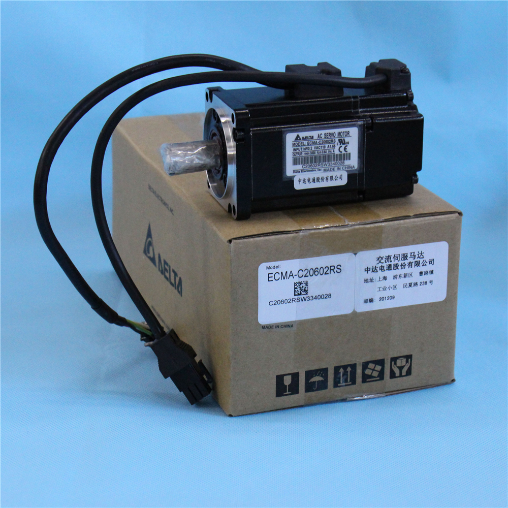 200W 0.64NM 3000rpm Servo Motor AC 220V Delta Motor Servo ECMA-C20602RS with Keyway & Oil Seal New new original 750wa2 series motor ecma c10807rs 220v 750w 2 39nm 3000rpm ac servo motor with keyway oil seal