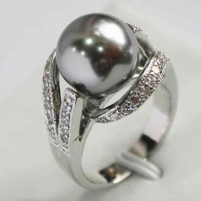 Hot sale>@@ lady's new design jewelry silver plated with crystal decorated &12mm gray shell pearl ring(#7.8.9)