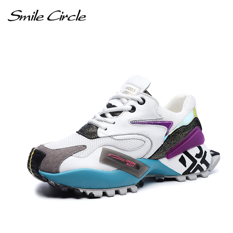 Smile Circle Women Sneakers Flat Platform shoes Mesh Breathable Lace up fashion Mixed colors casual Ladies sneaker 2019 Spring-in Women's Vulcanize Shoes from Shoes    1