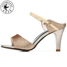 60b70476bdb Guciheaven2019 oro Bling Sexy sandalias de mujer fiesta Noble brillante  zapatos de tacón alto 8 cm