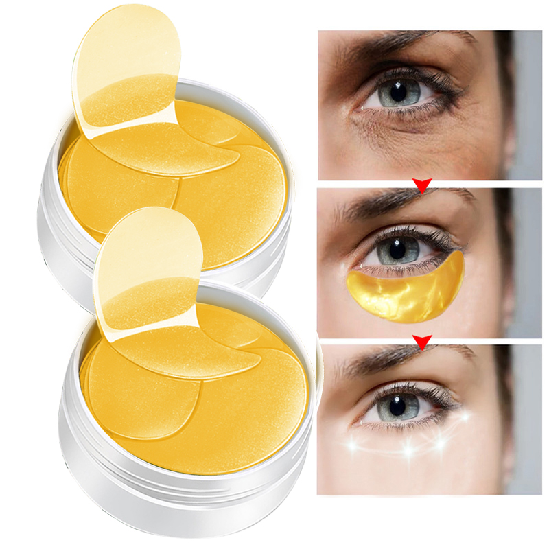 60Pcs Anti Wrinkle Gold Serum Eye Masks Anti-puffiness Collagen Eye Mask Gel Eye Patches Moisturizing Firming Women Skin Care