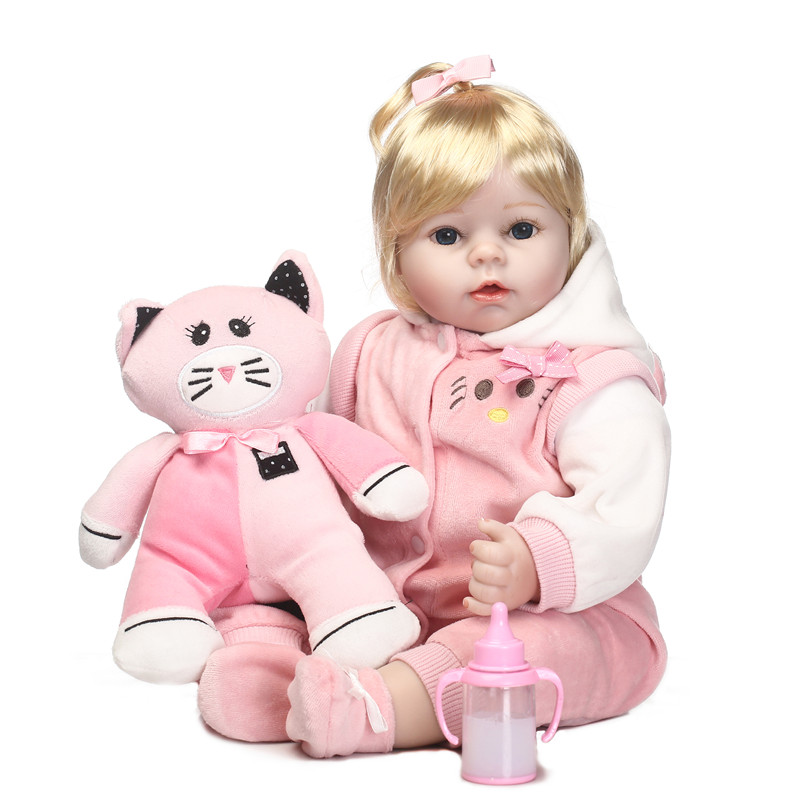 Bebes reborn toddler girl dolls 22 soft silicone reborn dolls babies for children gift sleeping dolls with cat plush dollBebes reborn toddler girl dolls 22 soft silicone reborn dolls babies for children gift sleeping dolls with cat plush doll