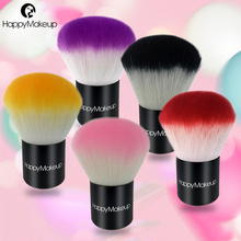 Happy Makeup Pro Lovely Colorful Makeup Blusher Brushes Synthetic Hair Blush Kabuki Brush with Cute Black PU Zip Pouch, 5 color