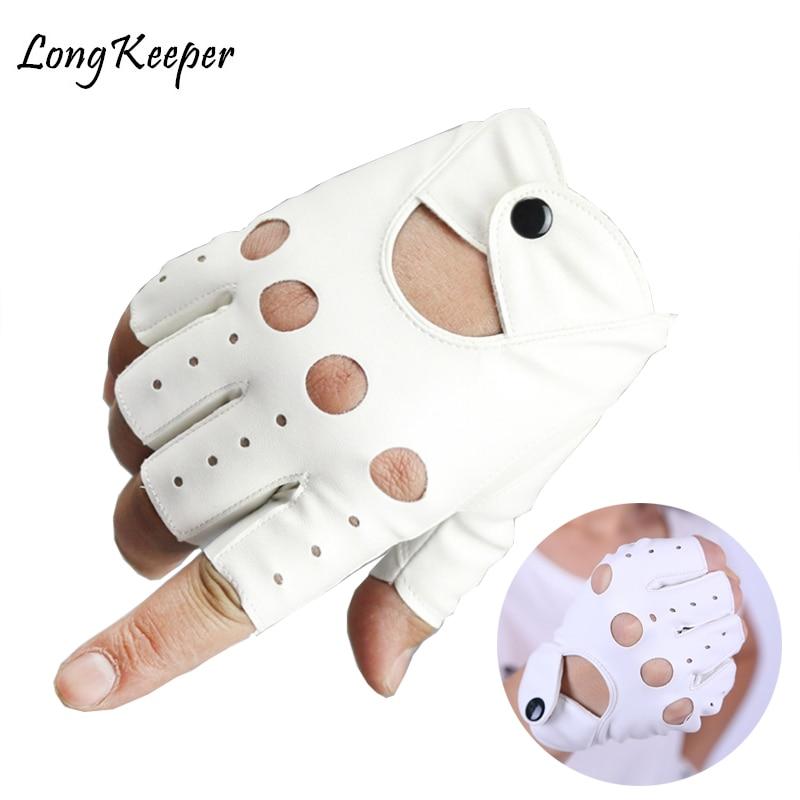 1 Pair Female Half Finger Driving Gloves 1 Pcs Fashion PU Leather Fingerless Gloves For Women White Black Female Guantes Luvas