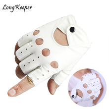 1 pair Female Half Finger Driving Gloves Pcs Fashion PU Leather Fingerless For Women White Black Guantes Luvas