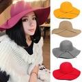 2017 Spring Summer Outing New Elegant Vintage Hot Sale Sun Hats Women Ladies Wide Brim Wool Felt Bowknot  Beach Female Cap S501
