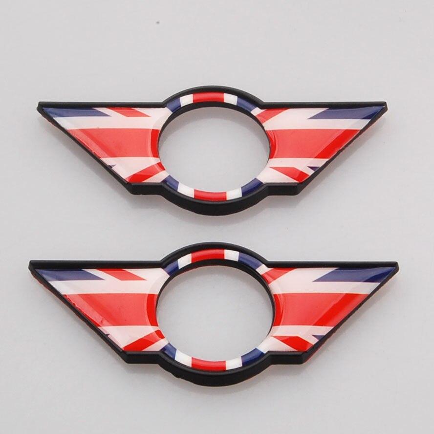 BBQ@FUKA 2x Aluminum UK Flag Wing decoration Sticker Fit for MINI COOPER Car Interior Door Lock Knobs Pins Cover Styling Sticker