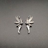 50pcs/pack Vintage Silver Creative Elf Angel Trendy Necklace Pendant DIY Bracelet Charm 25*11mm Handmade Jewelry Findings Crafts