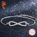 Exquisite 925 Sterling Silver Micro Pave Crystal Infinity Bracelet for Women Link Chain Charms Bracelet Bangle Authentic Jewelry