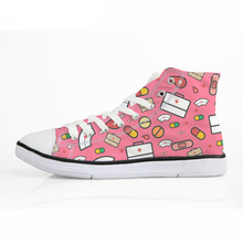 NOISYDESIGNS Spring Women High Top Vulcanize Shoes Cartoon Nurse Print Classic Canvas for Girls Students Lacing Flat Shoe