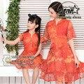 Família Matching Silk Vestido de Verão Floral Combinando Roupas Da Família Mãe E Filha Meninas Qualidade Superior Mãe Roupas Filha