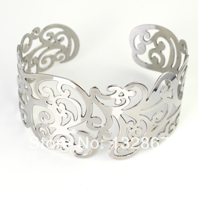 94ae519896f 1.45'' wide silver tone Lace cuff bracelet stainless steel Women Fashion  Bangle