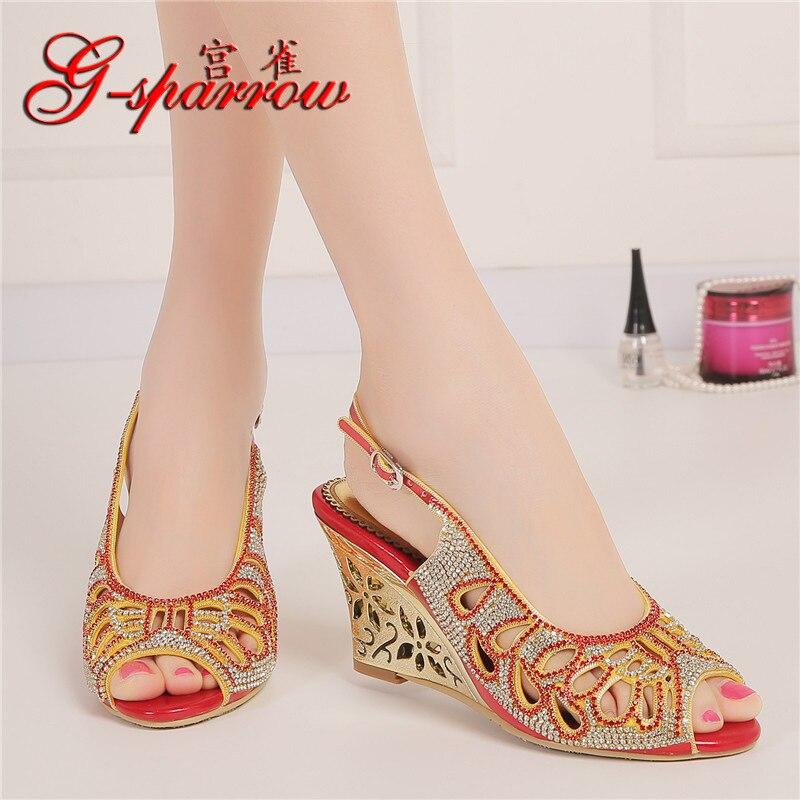 ФОТО Summer Fashion Sexy Princess Crystal Red High Heel Peep Toe Pumps Diamond Sandals Wedding Shoes