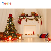 Yeele Christmas Tree Fireplace Stocking Candles Gifts Curtain Photography Backgrounds Photographic Backdrops for Photo Studio