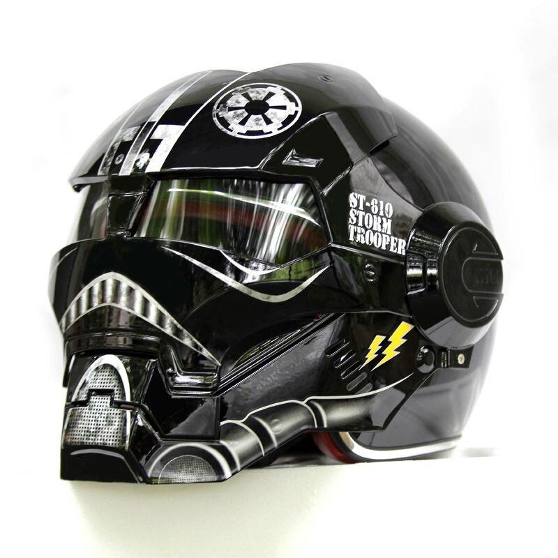 Nueva negro Star Wars masei Ironman Hombre de Hierro casco motocicleta casco medio casco abierto 610 ABS Casque motocross