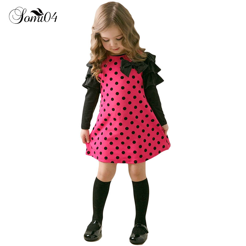 New 2018 Spring Autumn Polka Dot Girls' Dresses Children's Casual Clothes Kids Girl 1 2 3 4 5 6 7 8 Years Old Long Sleeve Dress