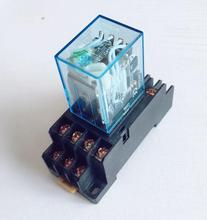 Intermediate relay MY4NJ small electromagnetic relay Power Relay with Base 14Pins DC12V AC12V DC24V AC24V AC110V AC220V стоимость