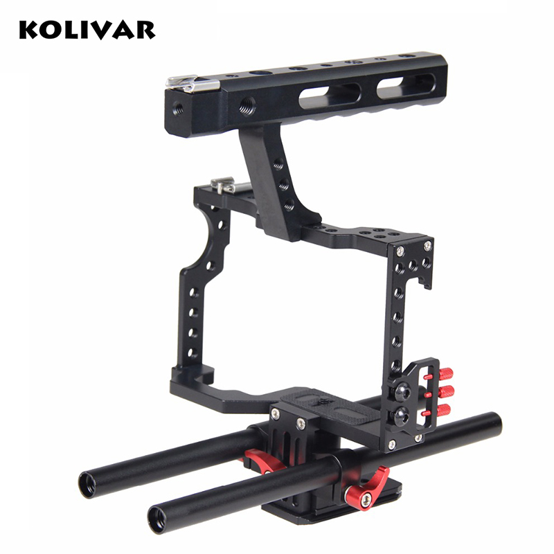KOLIVAR DSLR Camera Cage Support Video Stabilizer Rig With Rod System For Sony ILCE-7 Series A7 A7II A7s A7r A7RII Panasonic GH4 viltrox 15mm rod rig dslr video cage kit stabilizer handle grip follow focus for sony a7ii a7r a7s a6300 panasonic gh4 m5