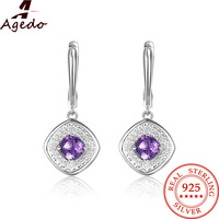 Agedo Natural Amethyst Stud Earrings Silver 925 Jewelry Prong Setting Engagement Wedding Earrings For Women Fine