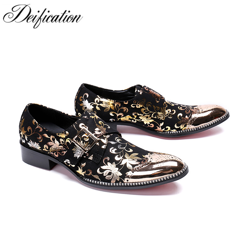 Deification Stylish Printed Men's Flats Casual Leather Shoes Moccasins Big Buckle Men Loafers Fashion Italian Male Party Shoes stylish men s casual shoes with buckle and breathable design