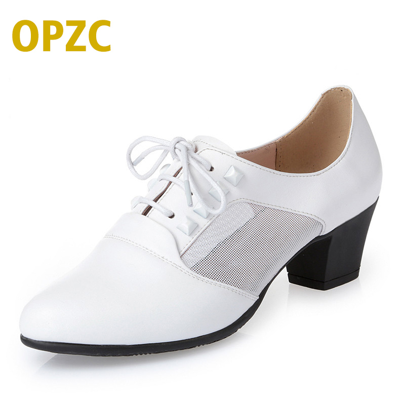 OPZC 2018 New women shoes genuine leather shoes Fashion mesh lace up sneakers for women Casual Shoes Women Air Mesh Breathable mwy women breathable casual shoes new women s soft soles flat shoes fashion air mesh summer shoes female tenis feminino sneakers